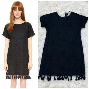 Madewell embroidered tassel tee dress black XS